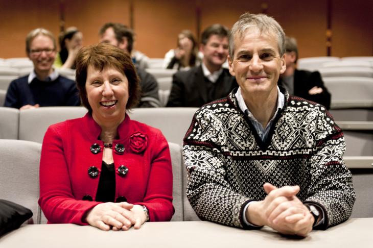 Jonas Gahr Støre, on the right, and Catherine Ashton