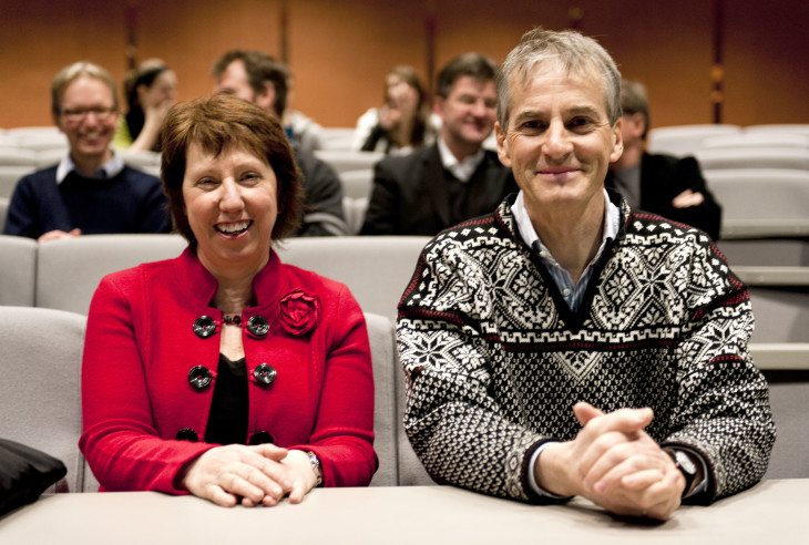 Jonas Gahr Støre, on the right, and Catherine Ashton