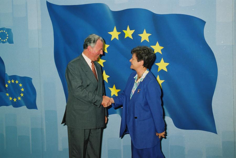 Brundtland og Jacques Santer, 1995.
